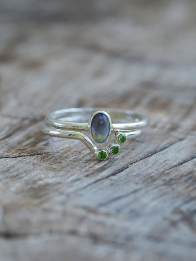 AA PHOTOS Opal and Diopside Ring Set - Gardens of the Sun Jewelry