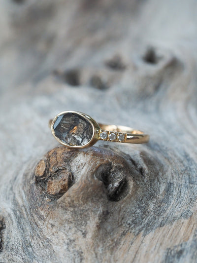 AA SKU Salt and Pepper Diamond Slice Ring - Gardens of the Sun Jewelry