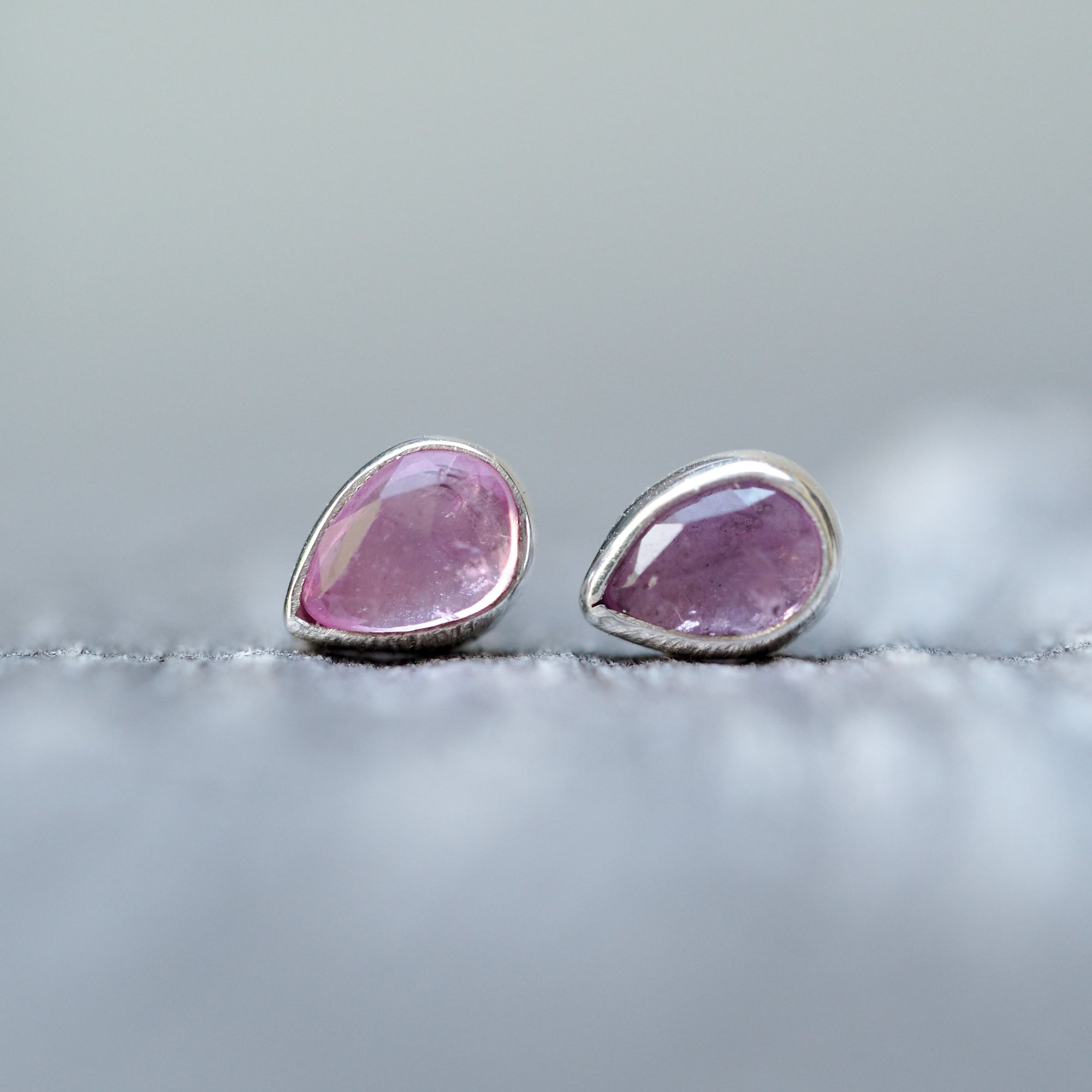 Rose Cut Pink Sapphire Earrings - Gardens of the Sun Jewelry