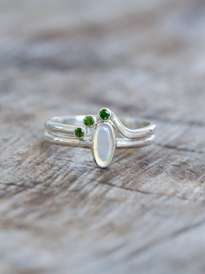 Opal and Diopside Ring Set