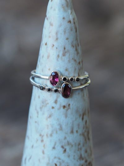 Red Tourmaline and Black Spinel Ring