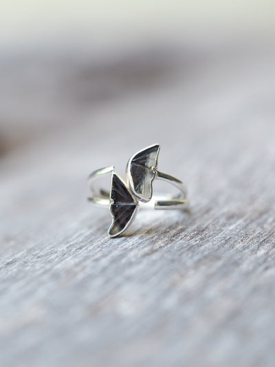 Bicolor Dark Tourmaline Wing Ring - Gardens of the Sun Jewelry