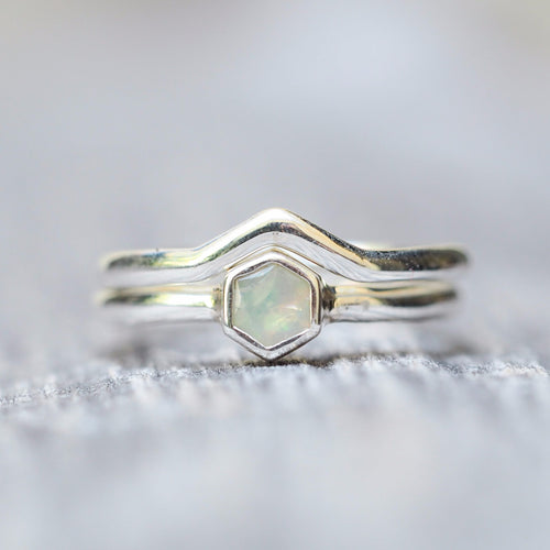 Hexagon Opal Stacking Ring Set