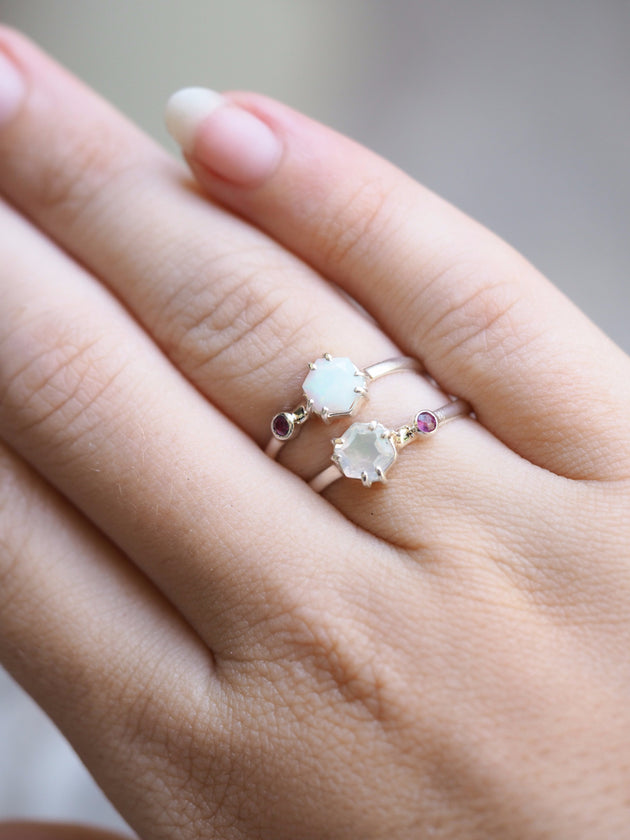 Hexagon Opal and Ruby Ring