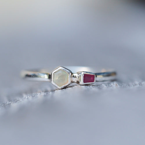Hexagon Opal and Baguette Ruby Ring
