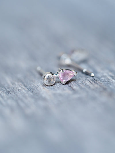 Pink Sapphire and Moonstone Earrings - Gardens of the Sun Jewelry