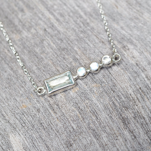 Baguette Aquamarine & Moonstone Necklace