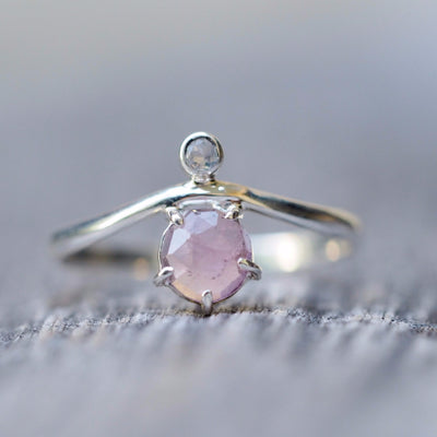 Rose cut Pink Tourmaline and Moonstone Ring - Gardens of the Sun Jewelry