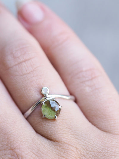 Rose cut Green Tourmaline and Moonstone Ring - Gardens of the Sun Jewelry