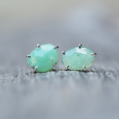 Rose Cut Chrysoprase Earrings