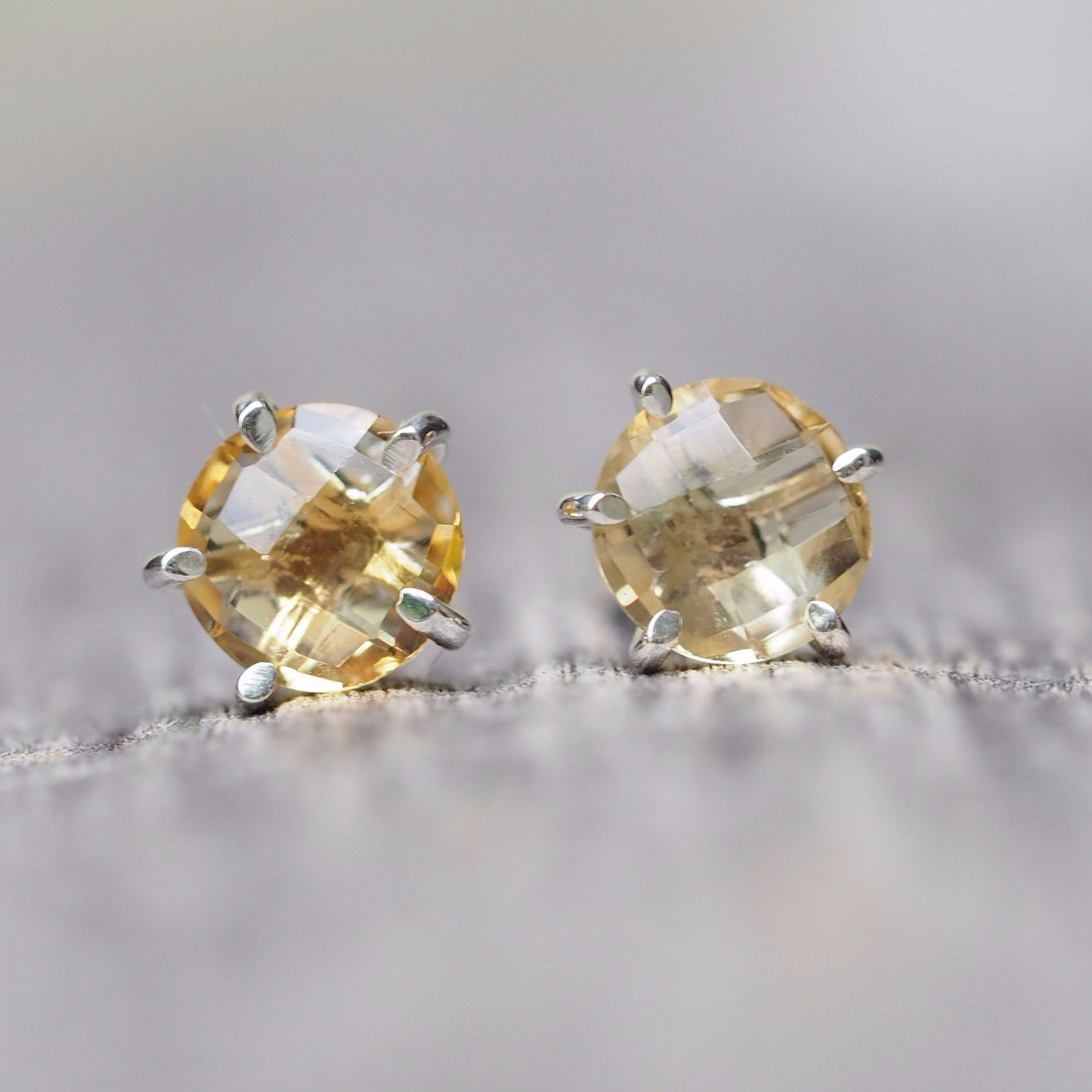 Checkerboard Citrine Stud Earrings - Gardens of the Sun Jewelry