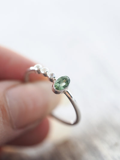 Green Tourmaline and Moonstone Ring - Gardens of the Sun Jewelry