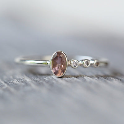 Pink Tourmaline and Tanzanite Ring - Gardens of the Sun Jewelry
