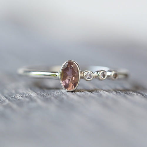 Pink Tourmaline and Tanzanite Ring
