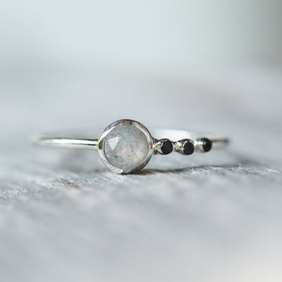 Labradorite and Black Spinel Ring - Gardens of the Sun Jewelry