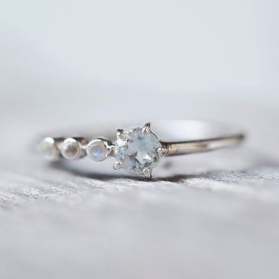 North Carolina Aquamarine and Moonstone Ring - Gardens of the Sun Jewelry