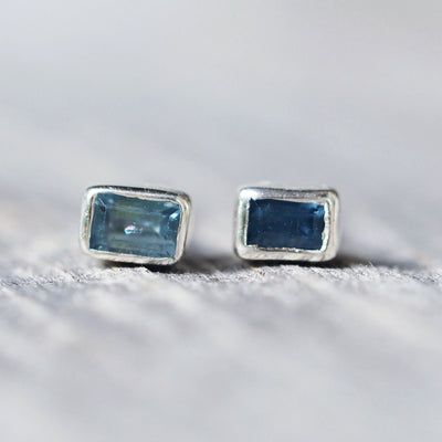 Baguette Blue Sapphire Earrings - Gardens of the Sun Jewelry