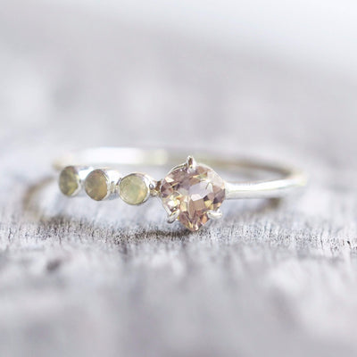 Peach Tourmaline and Opal Ring - Gardens of the Sun Jewelry