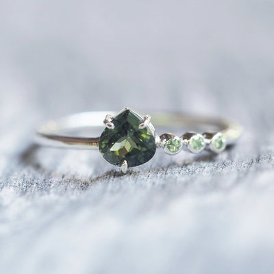 Green Tourmaline and Tsavorite Garnet Ring - Gardens of the Sun Jewelry
