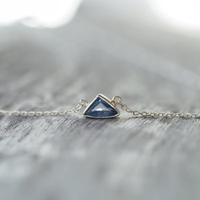 Geometric Blue Sapphire Necklace - Gardens of the Sun Jewelry