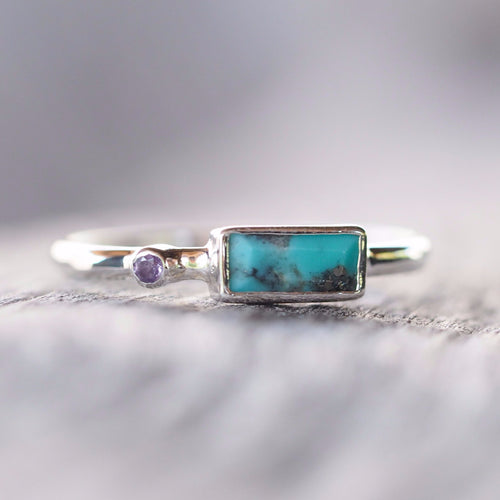 Baguette Turquoise and Amethyst Ring