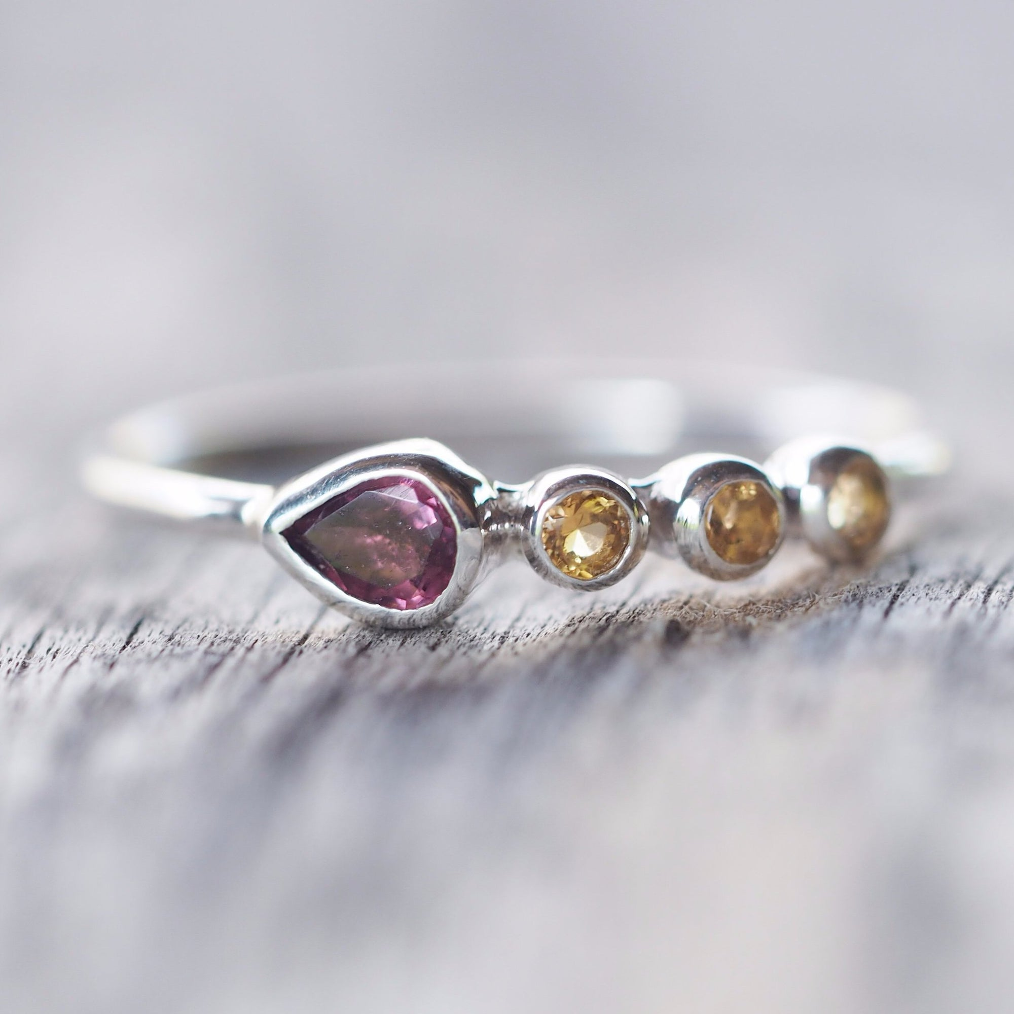 Pear Rhodolite Garnet and Citrine Ring
