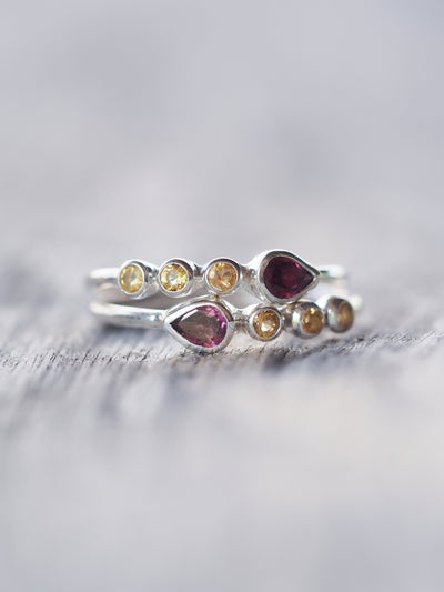 Pear Rhodolite Garnet and Citrine Ring - Gardens of the Sun Jewelry