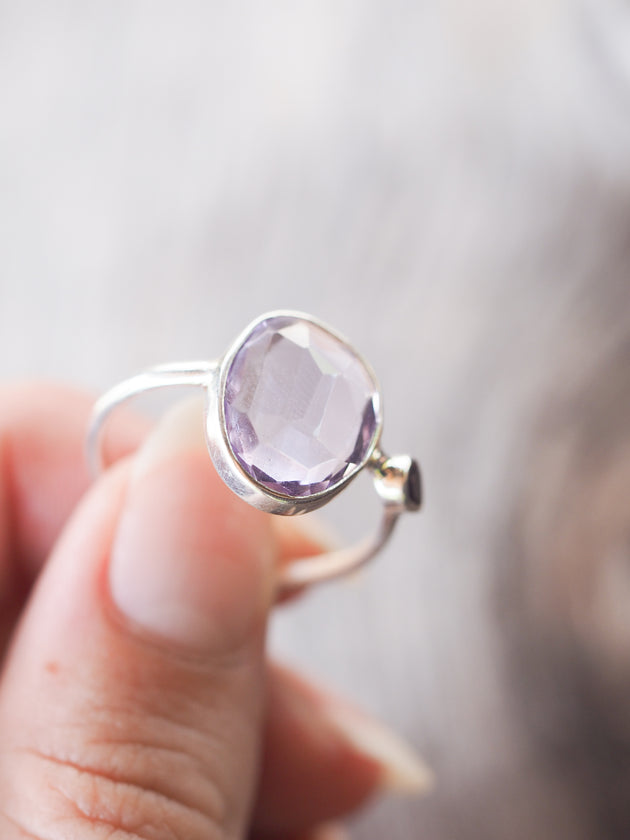 Rose Cut Amethyst and Garnet Ring