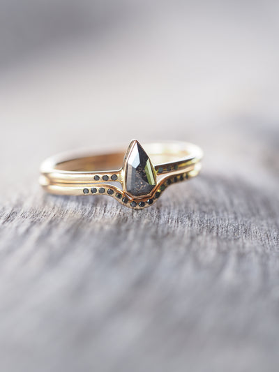 Shield Cut Black Diamond Ring Set in Gold - Gardens of the Sun Jewelry