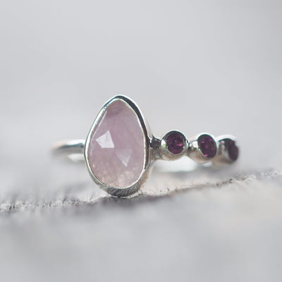 Rose Cut Sapphire and Garnet Ring - Gardens of the Sun Jewelry