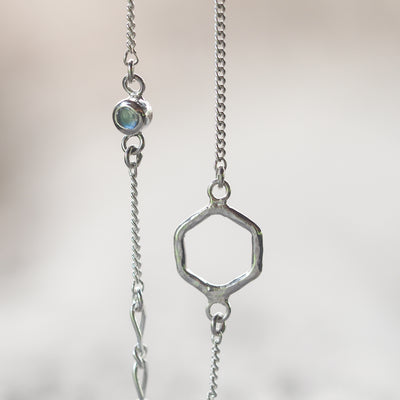 Hexagon and Moonstone Bracelet - Gardens of the Sun Jewelry