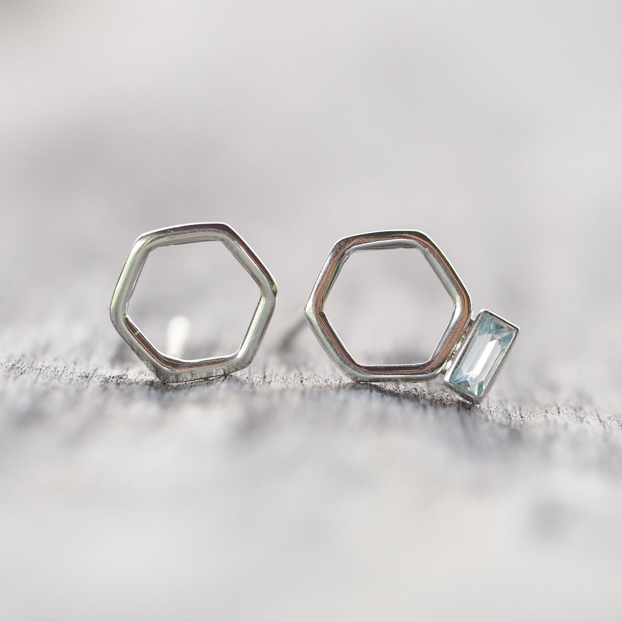 Mismatched Hexagon and Aquamarine Stud Earrings - Gardens of the Sun Jewelry