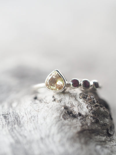 Peachy Pink Tourmaline and Garnet Ring - Gardens of the Sun Jewelry