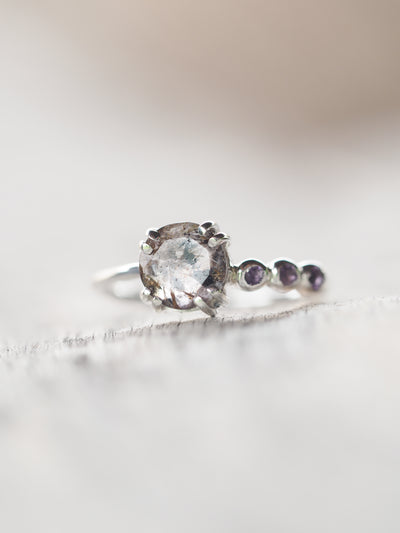 Quartz and Amethyst Ring - Gardens of the Sun Jewelry