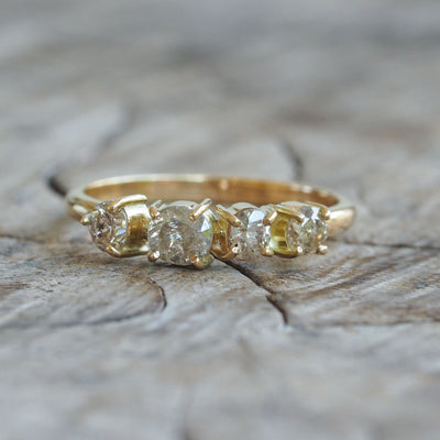 AA Champagne Diamond Cluster Ring in Eco Gold - Gardens of the Sun Jewelry