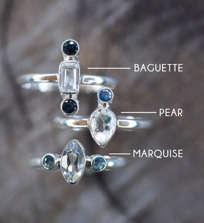 White Topaz and Sapphire Ring