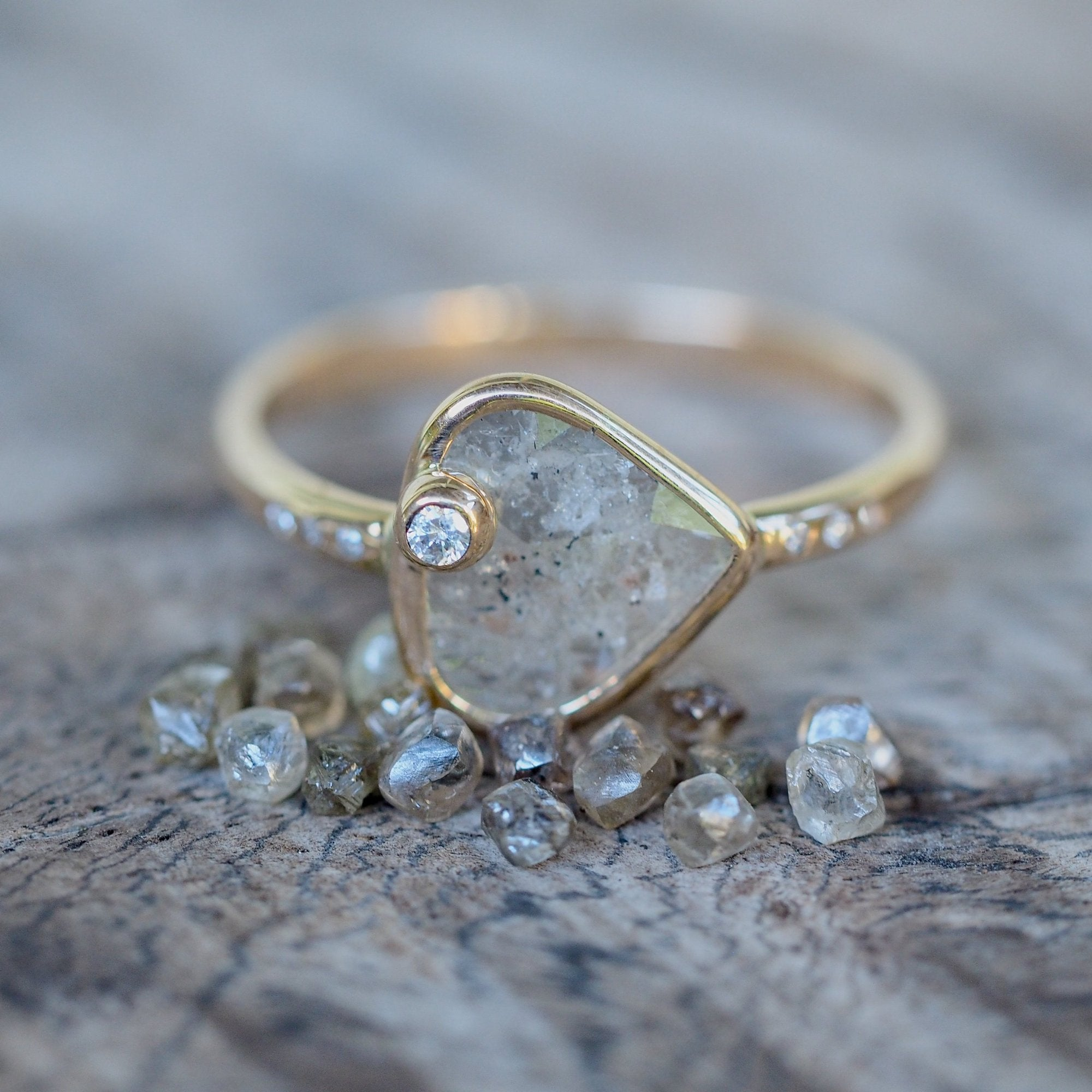 Custom Salt and Pepper Diamond Slice Ring - Gardens of the Sun Jewelry
