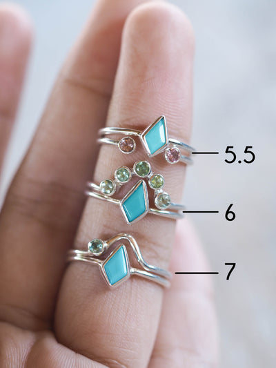 AA Price Kite Turquoise and Tourmaline Ring Set - Gardens of the Sun Jewelry