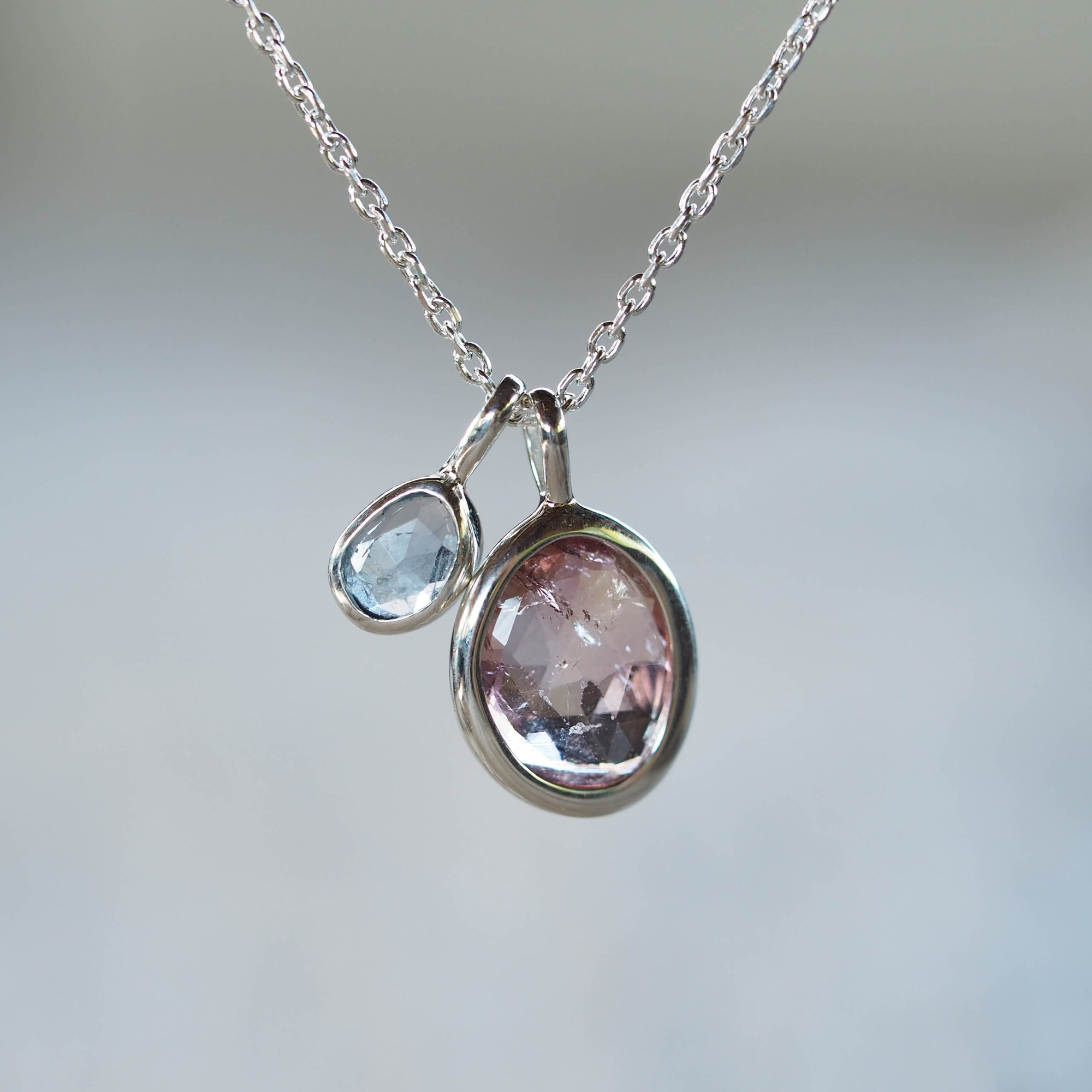 AA Rose Cut Tourmaline and Ceylon Sapphire Necklace - Gardens of the Sun Jewelry