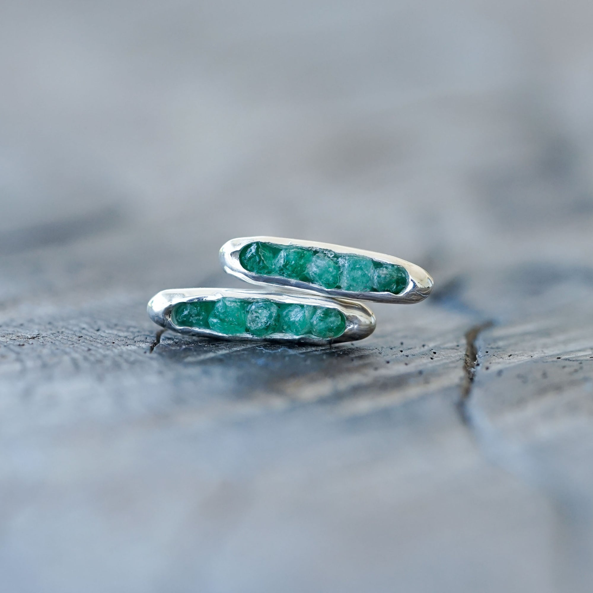 Rough Emerald Earrings with Hidden Gems
