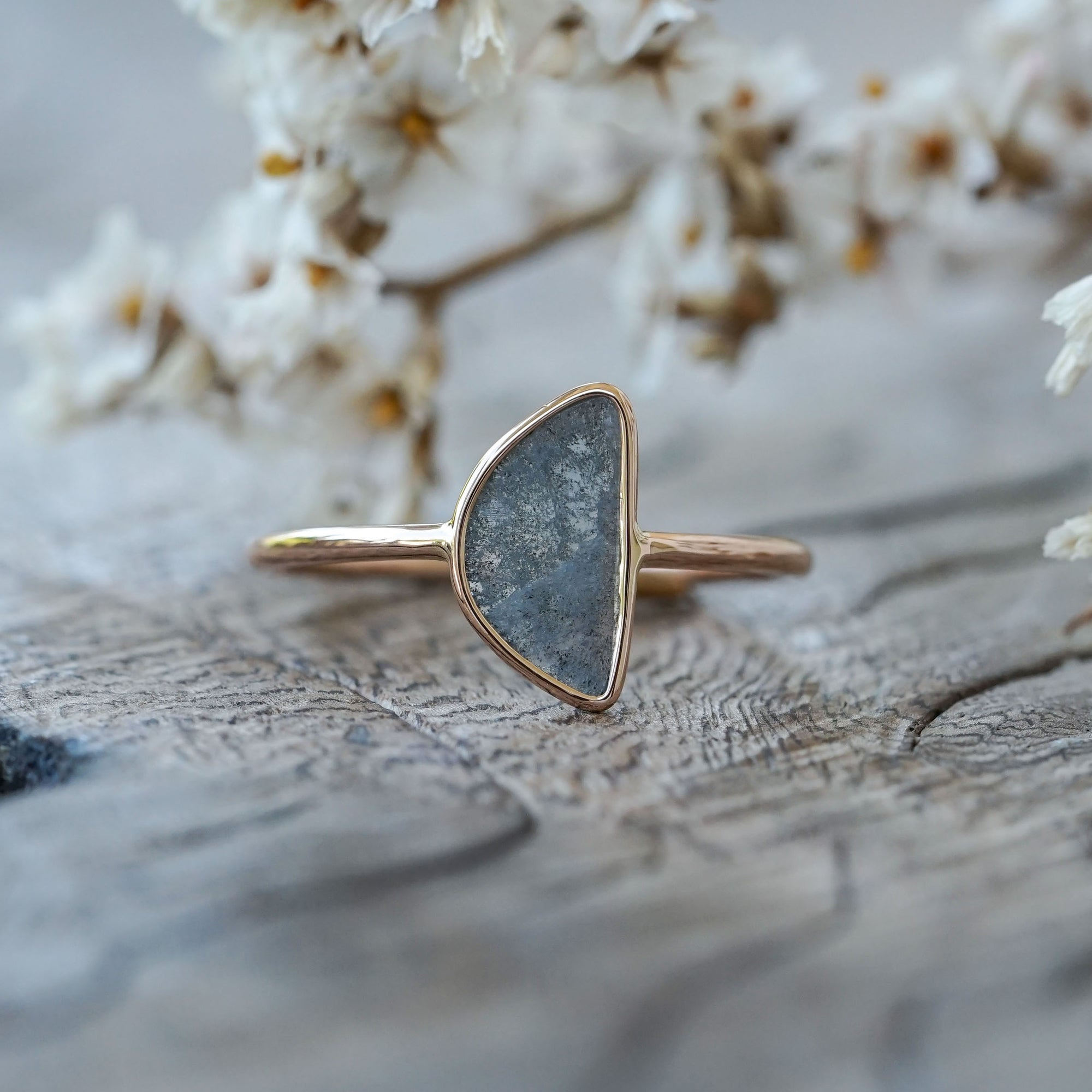 Half Moon Diamond Slice Ring in Eco Gold
