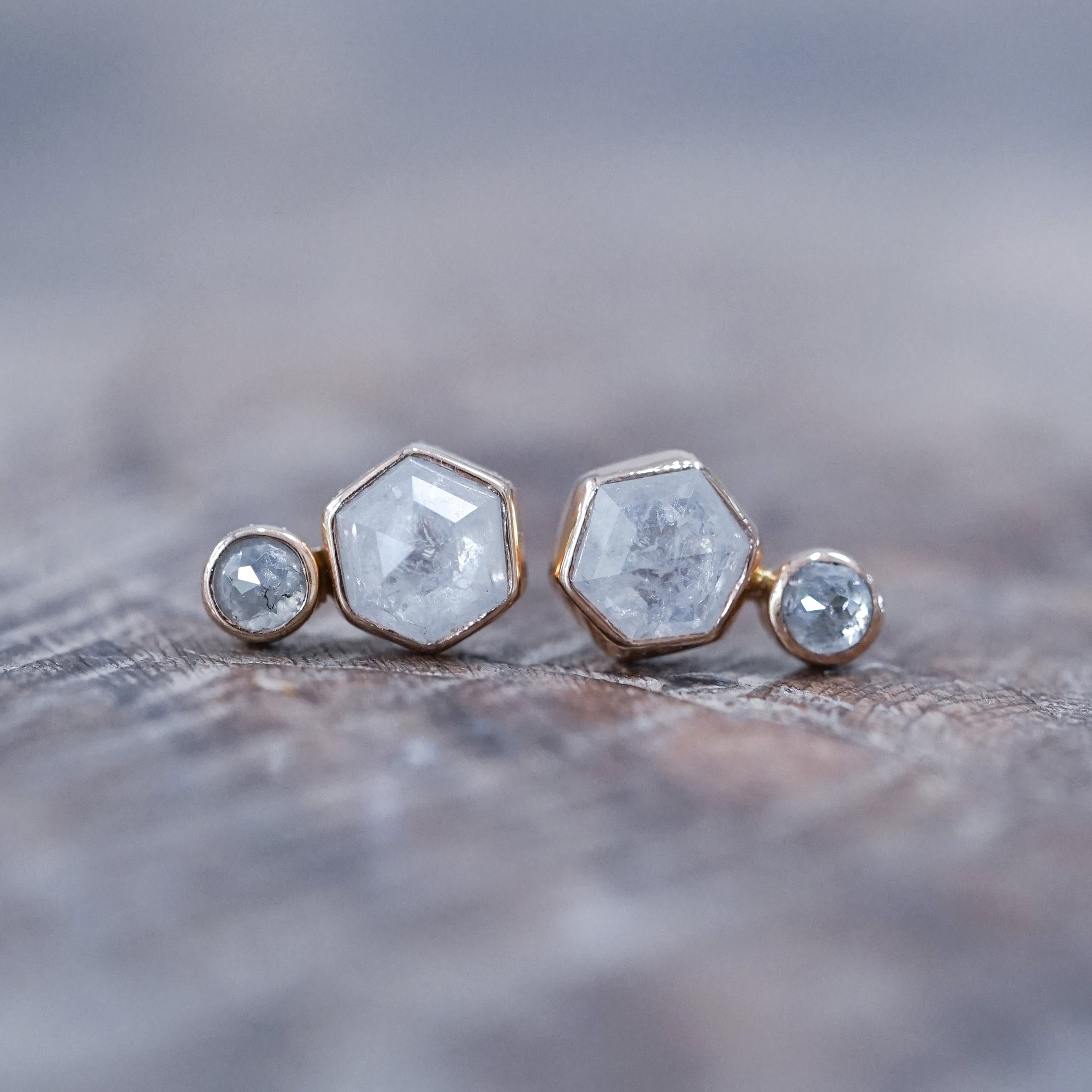 Rose Cut Hexagon Diamond Earrings in Rose Gold