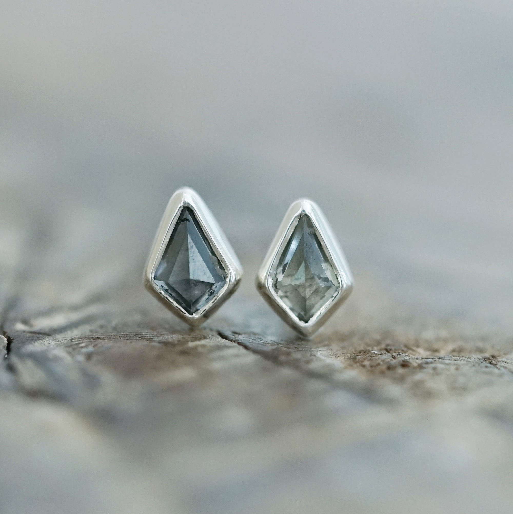 Salt and Pepper Diamond Kite Earrings