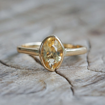 AA Meri check + sku Oval Citrine Ring In Gold (back to Apri for repair) - Gardens of the Sun Jewelry