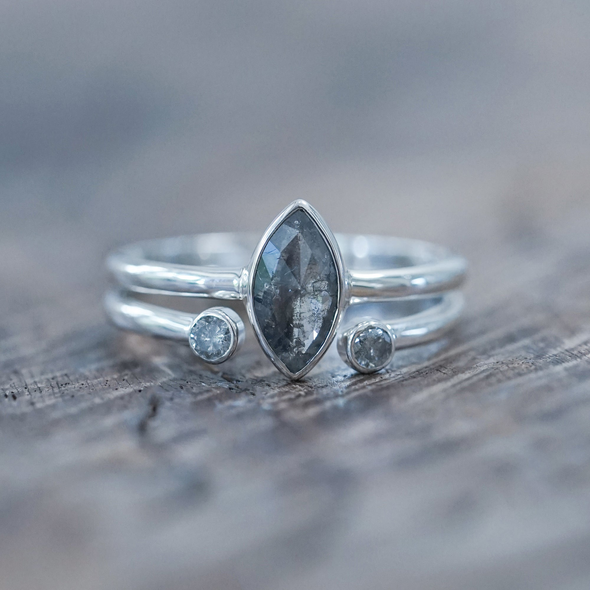 Salt and Pepper Marquise Diamond Ring Set