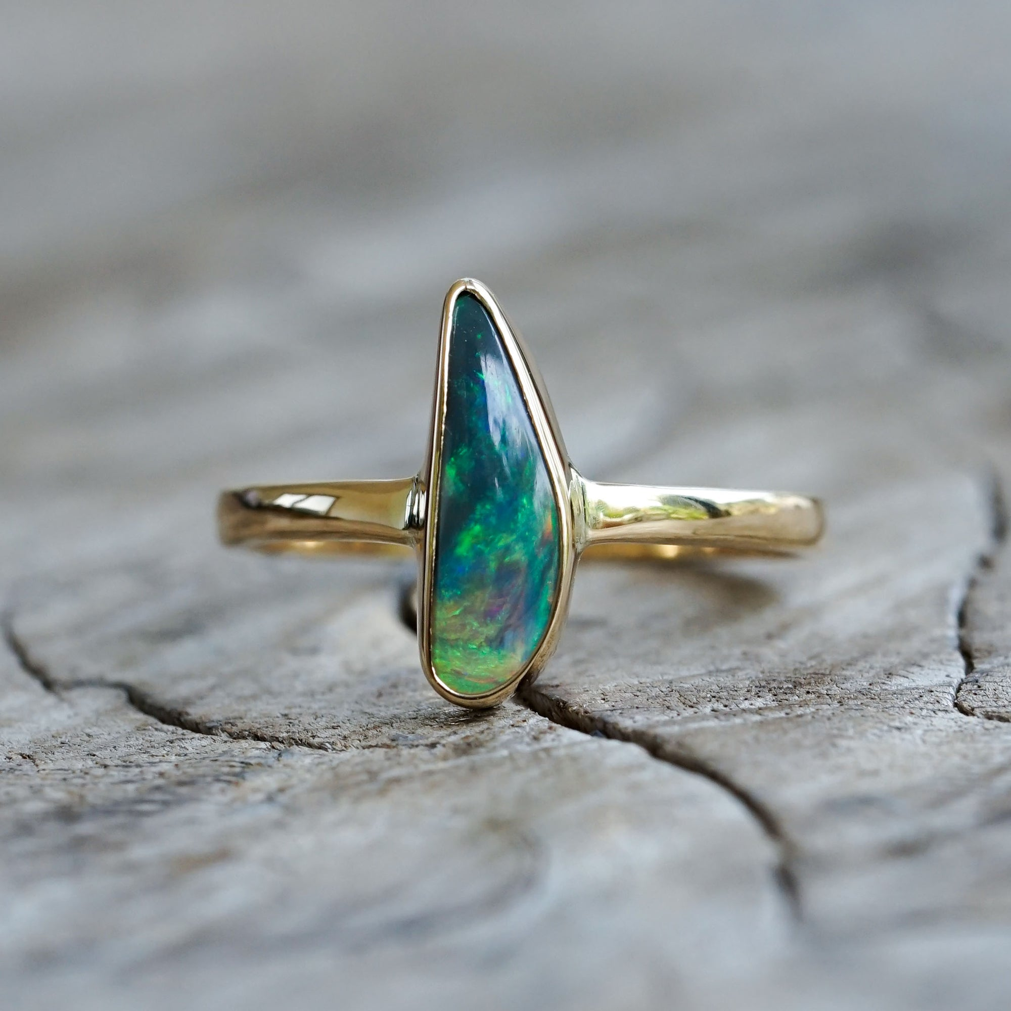 AA Opal Ring In Eco Gold - Gardens of the Sun Jewelry
