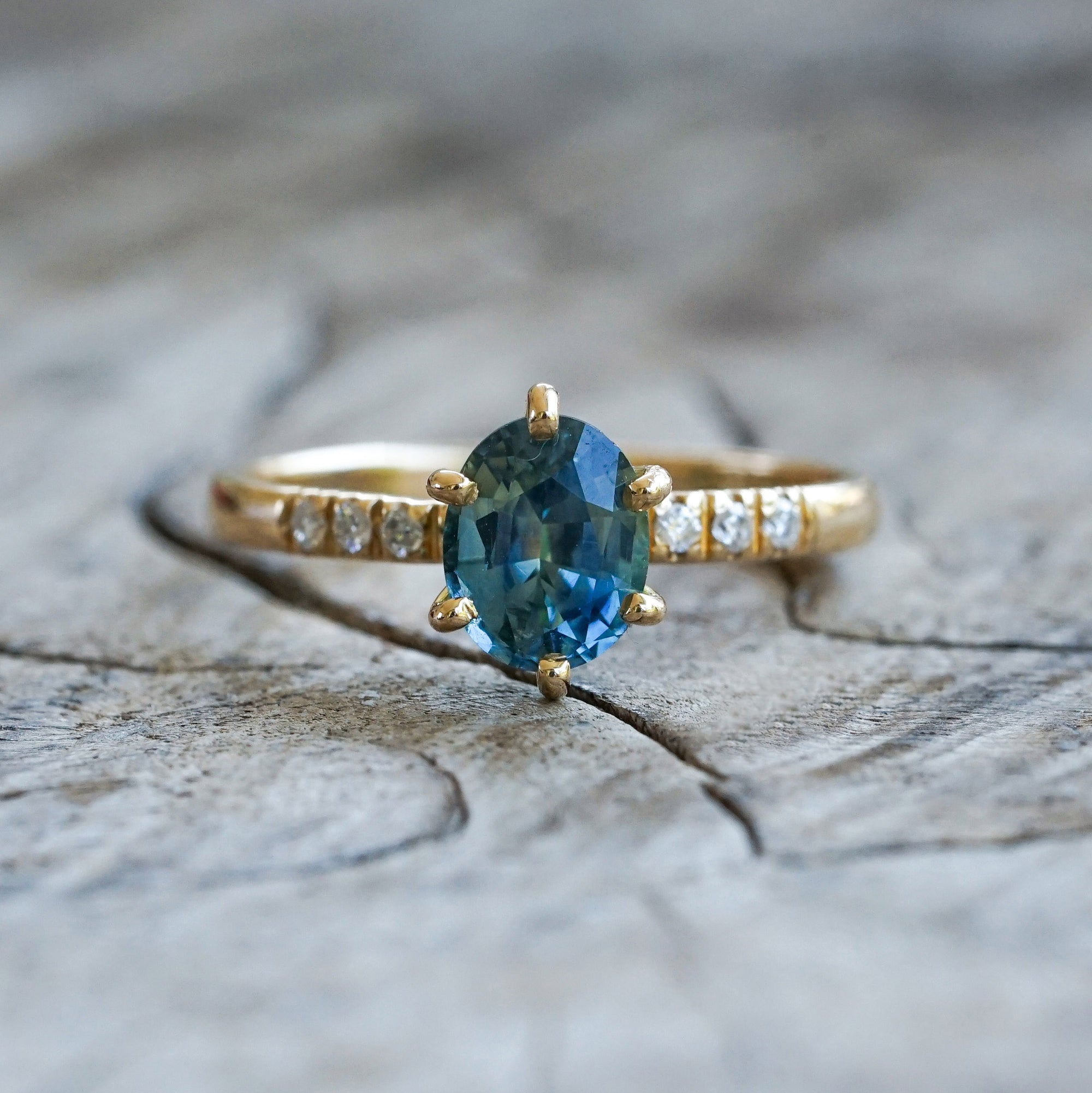 AA Oval Mermaid Sapphire Ring in Eco Gold - Gardens of the Sun Jewelry