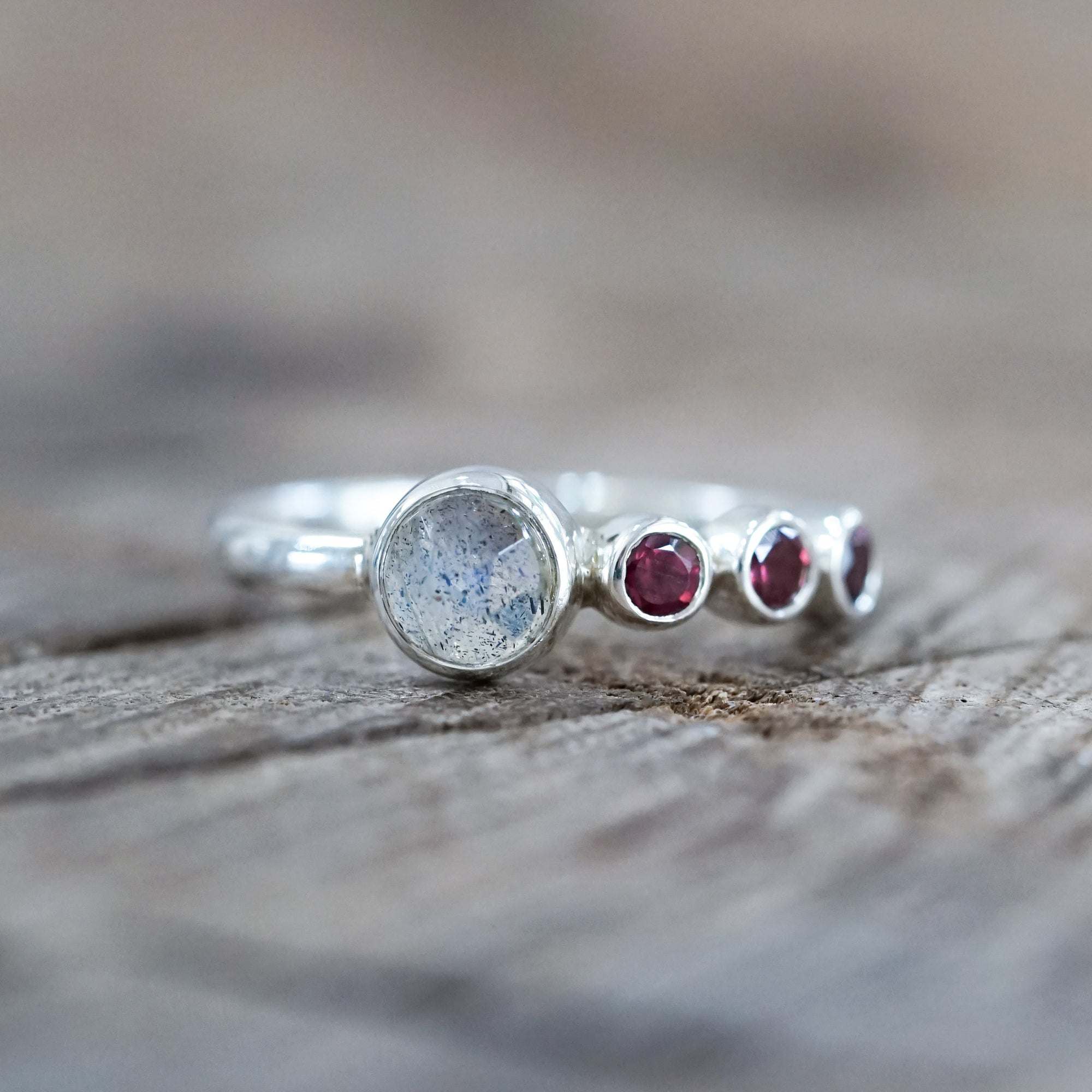 Rose Cut Labradorite and Garnet Ring
