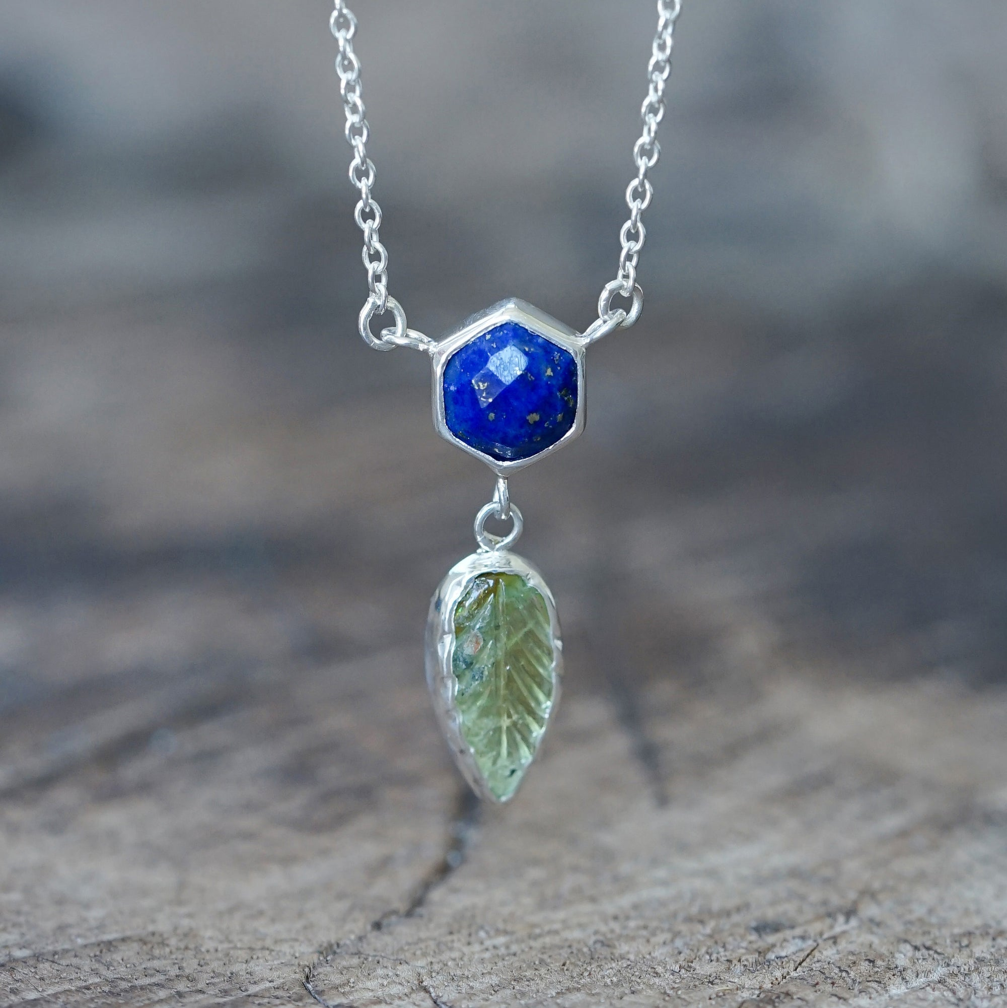Lapis Lazuli and Tourmaline Leaf Necklace