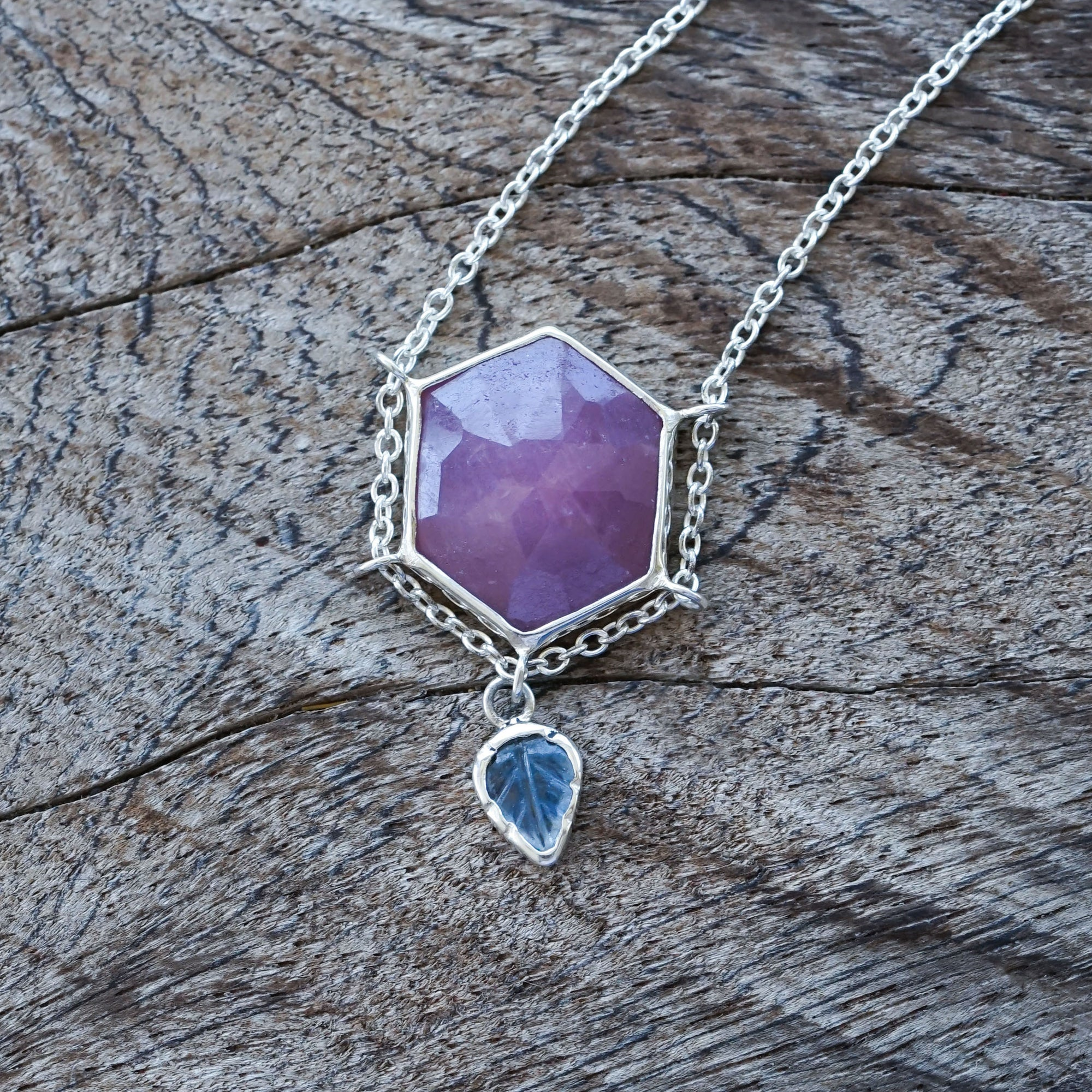 AA Pink and Blue Sapphire Necklace - Gardens of the Sun Jewelry